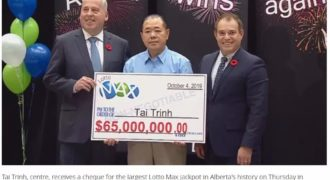 $65 million biggest Lotto Max jackpot in Alberta history and ties up with the largest Lotto Max winning in Canada.